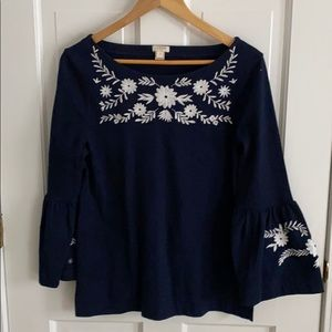 J Crew embroidered top